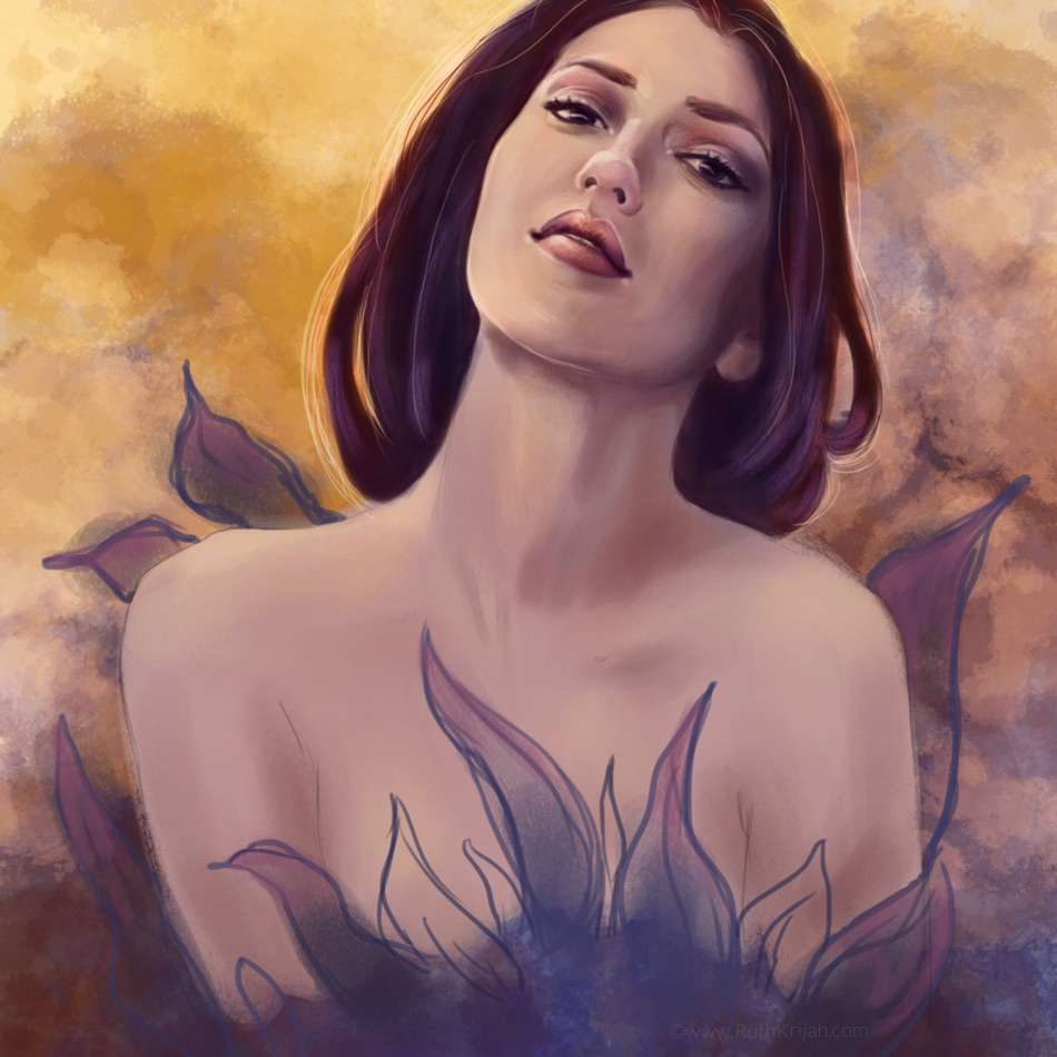 Ruth Krijah Art wrapped in love goddess within dancing digital painting female portrait