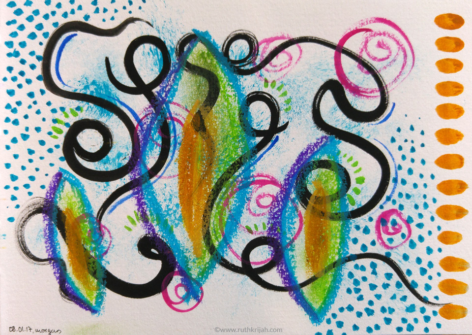 Ruth Krijah Art Journal Page black swirly lines with abstract leaf shapes and pink swirls