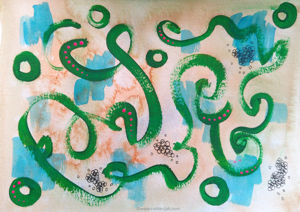 Ruth Krijah Art Journal Page green swirly doodly line on washes of ocre and blue
