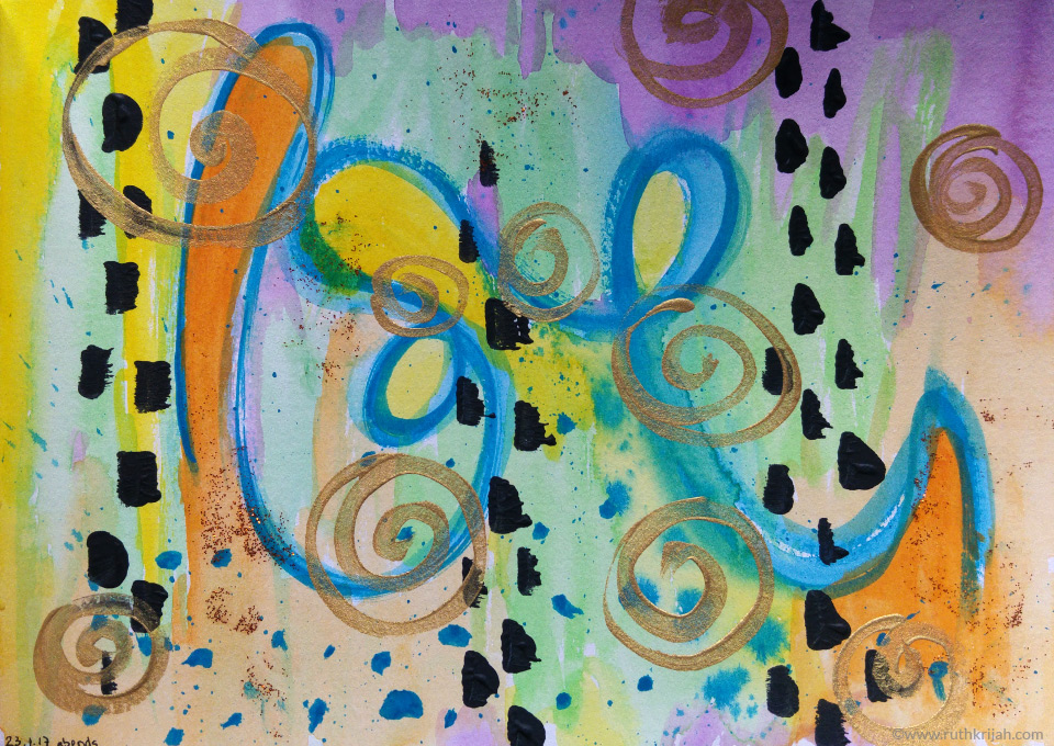 Ruth Krijah Art Journal Page blue line of life with crazy coloured surroundings and golden swirls on top