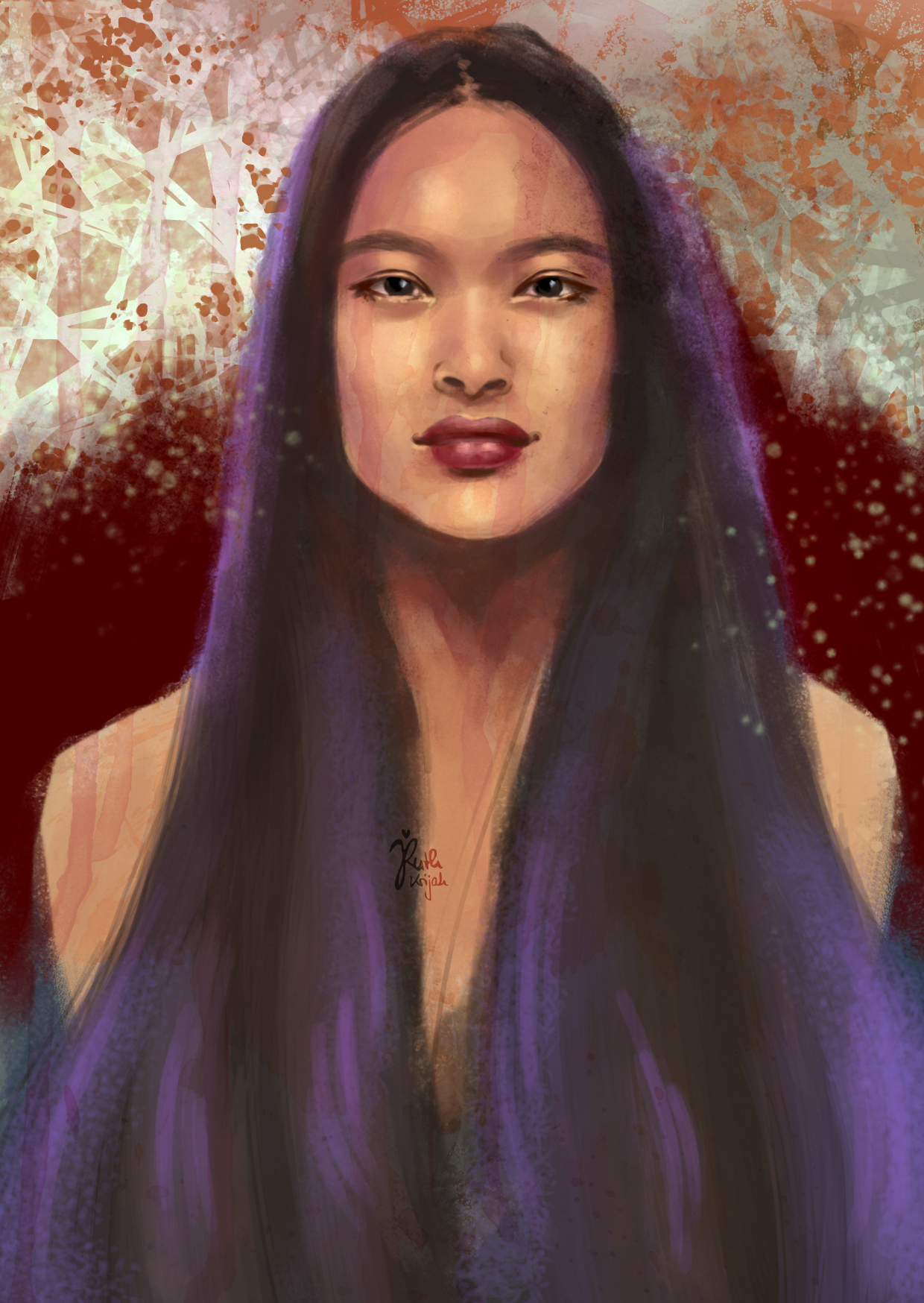 Digital Portrait of Asian Woman with long black hair. Inner Woman Portrait. By Artist Ruth Krijah
