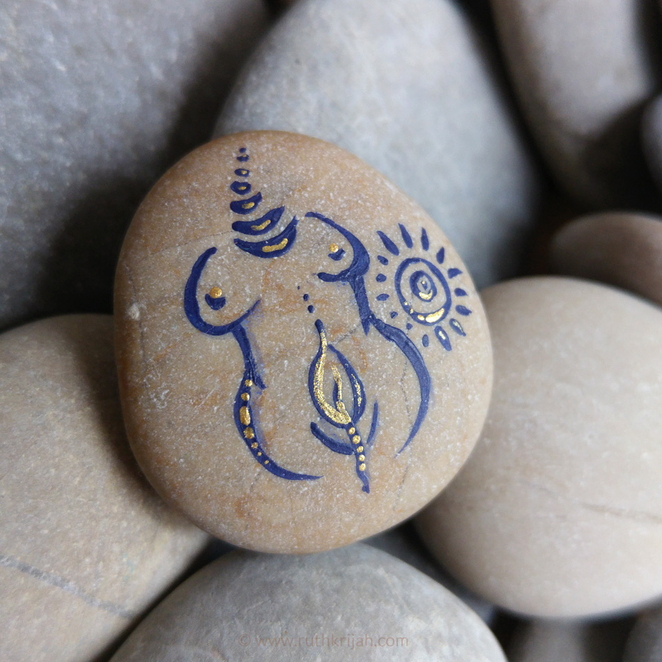 Spirit Pebble Goddess sign painted on handpicked rock embellished with gold acrylic color // sold
