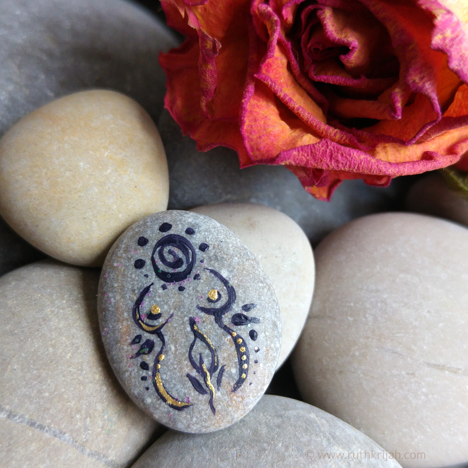 Spirit Pebble Goddess ornament painted on handpicked rock embellished with gold acrylic color // sold
