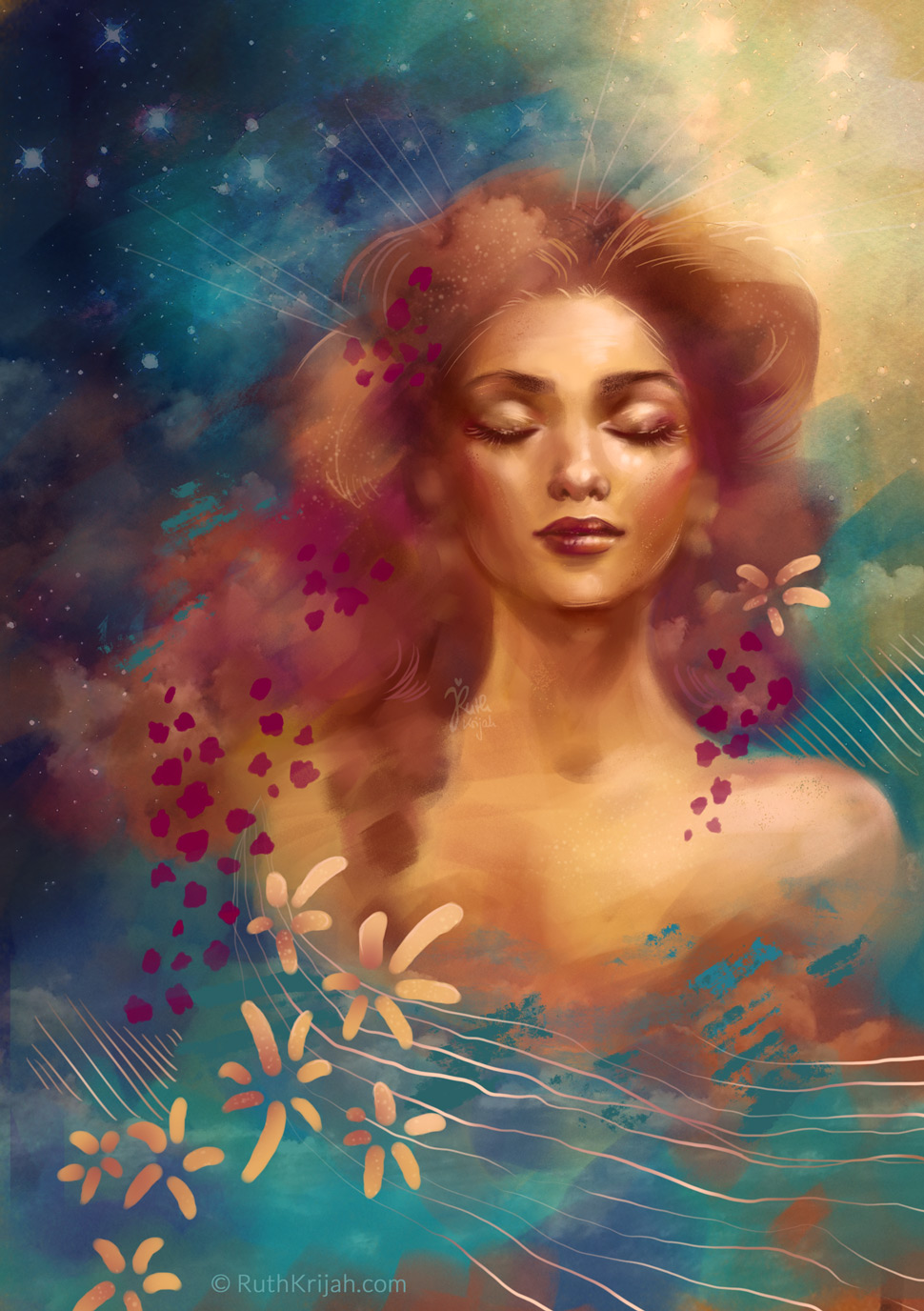 Digital Portrait of a Woman closed eyes feeling at home in the world. Stars sparkle. Inner Peace and Strength. Inner Woman Portrait. By Artist Ruth Krijah - inspired by and created for patrons at patreon.com/ruthkrijah
