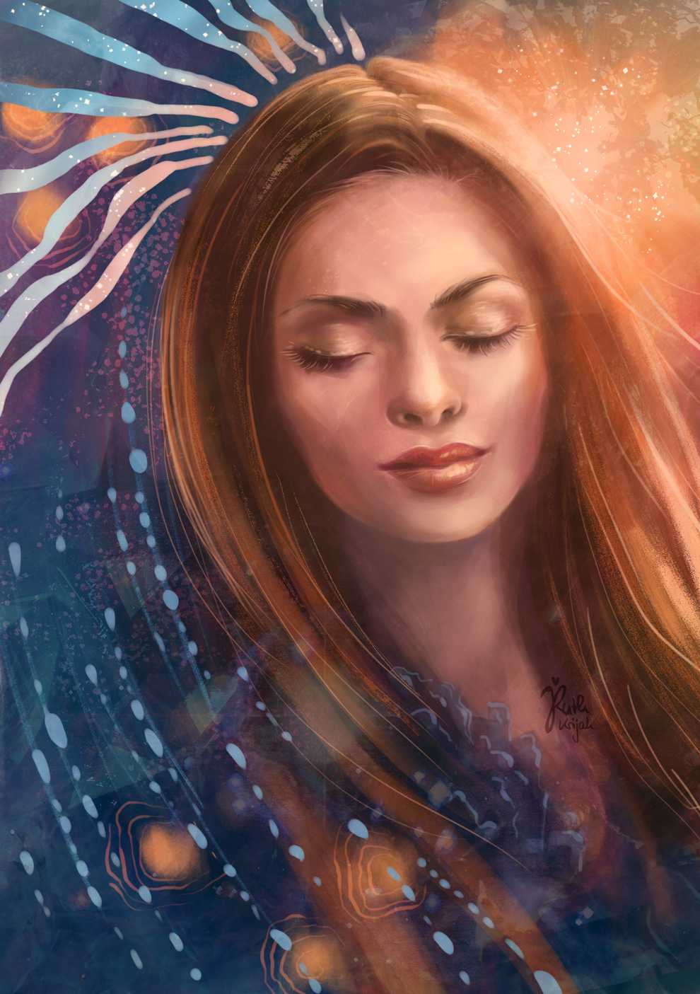 Digital Portrait of a Woman closed eyes. Crystal clarity. Inner Peace and Serenity. Inner Woman Portrait. By Artist Ruth Krijah - inspired by and created for patrons at patreon.com/ruthkrijah