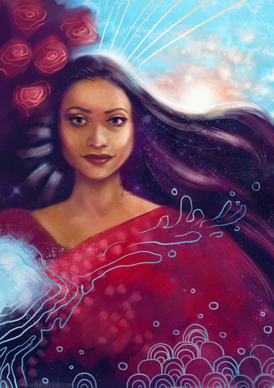 Digital Portrait of a Woman with flowing silky black hair. Morning Sunrise in the background. Roses. Japanese Water. Stars sparkle. Kind eyes and knowing smile. Inner Woman Portrait. By Artist Ruth Krijah